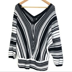LANE BRYANT sweater 18/20 black white stripe o206